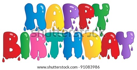 Happy Birthday painted sign - vector illustration.