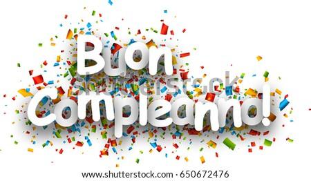 Happy Birthday Paper Sign Over Confetti Stock Vector ...