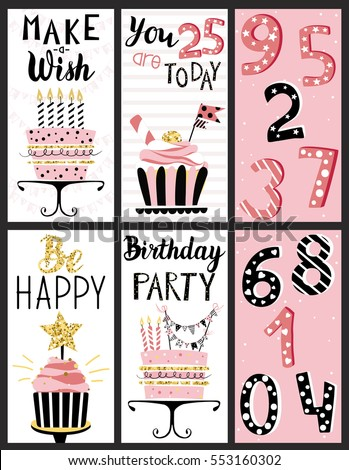 Happy Birthday Party cards set with cake, cupcake, topper, candles and ... Cute Halloween Flyer Templates