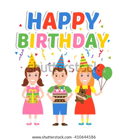 happy birthday party. children with cake gift box balloons isolated on white background - stock vector