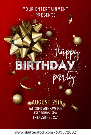 Happy Birthday Party Invitation Vector Poster Stock Vector HD