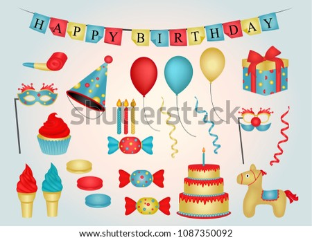Happy Birthday - party objects- Graphic design elements