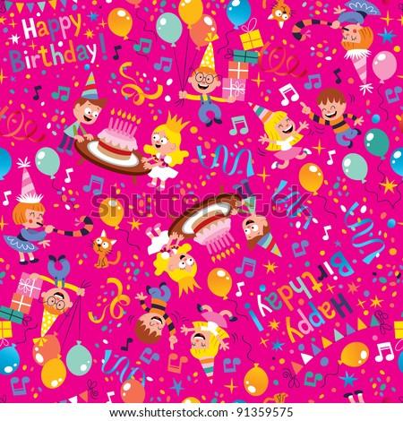 Happy Birthday party pattern - stock vector