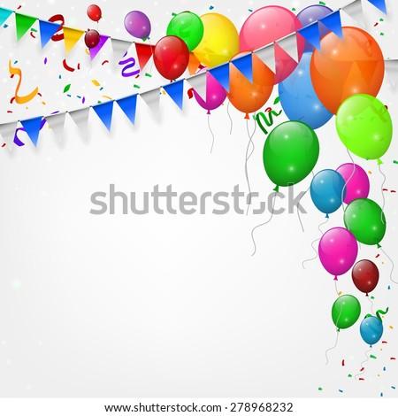 Celebration Background Flat Balloons Confetti Vector Stock Vector 284126444 -...