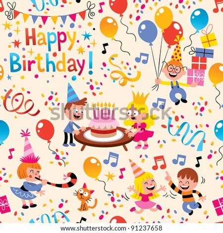 Happy Birthday pattern - stock vector