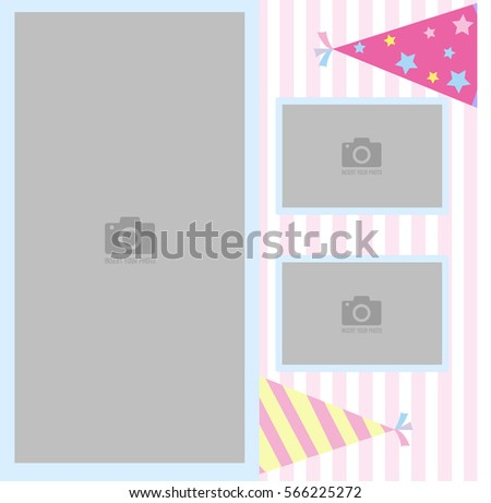 Happy Birthday photo frame and postcard for children with a celebratory cap. Pink and white stripe background vector. Template for children's photo album or postcard.