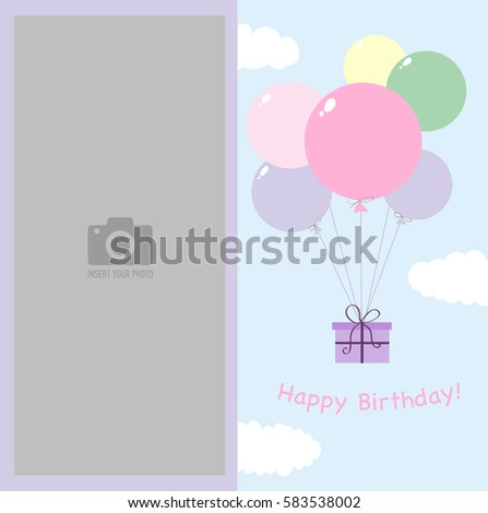 Happy Birthday photo frame for children. Blue sky with clouds and a gift flies on balloons. Template for children's photo album or postcard