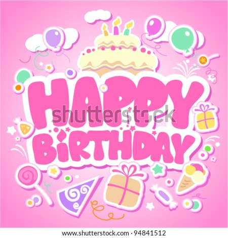 Happy Birthday pink card for girls. - stock vector