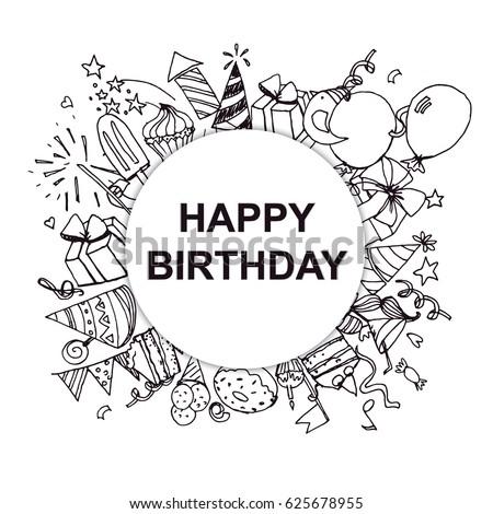 black and white happy birthday