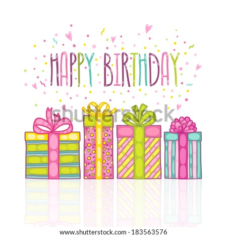 Happy Birthday present gift boxes with confetti. Vector holiday background. - stock vector