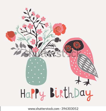 Happy Birthday. Print Design - stock vector