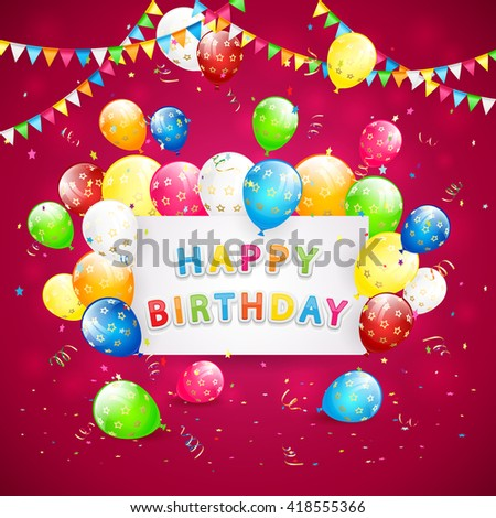 Happy Birthday red background with holiday card, pennants, flying colorful balloons, tinsel and confetti, illustration.