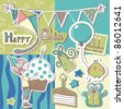 happy birthday scrapbook set - stock vector