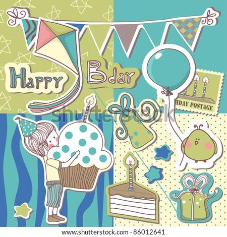 happy birthday scrapbook set - stock vector