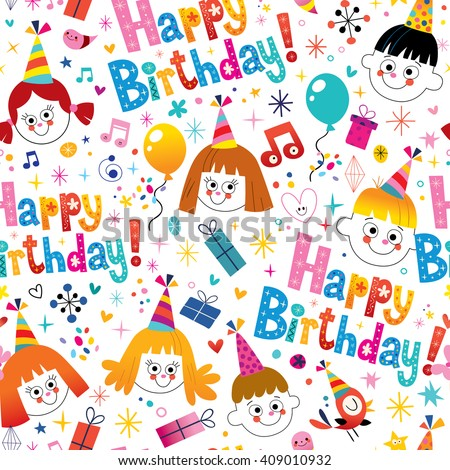 Happy birthday seamless pattern - stock vector