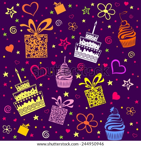 Happy birthday. Seamless wrapping paper. Vector Illustration  - stock vector