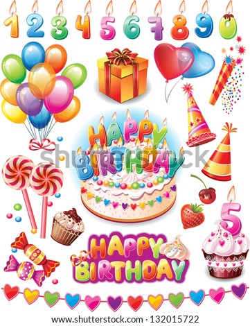 Happy birthday set - stock vector