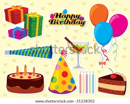 Happy Birthday set. Use to create greeting cards and party invitations. - stock vector