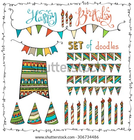 Happy Birthday set. Vector set of doodles festive garlands, candles and party hats isolated on white background.  - stock vector