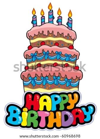 Big Cartoon Birthday Cake Vector Illustration Stock Vector
