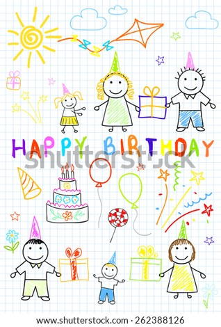 Happy birthday. Sketch on notebook page - stock vector