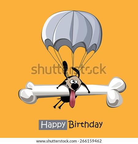 Happy Birthday smile dog parachute - stock vector