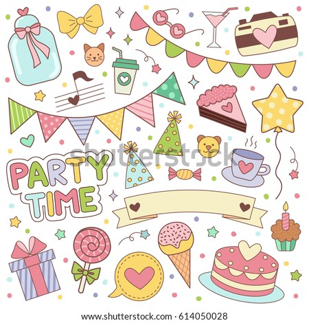 Happy birthday stickers set vector illustrartion for scrapbooking and decoration planning diary notebooks
