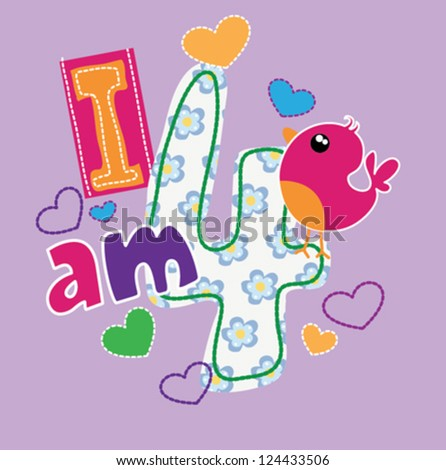 happy birthday / T-shirt graphics / cute cartoon characters / cute graphics for kids / Book illustrations / textile graphic - stock vector