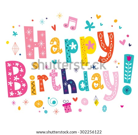 Happy Birthday text - stock vector