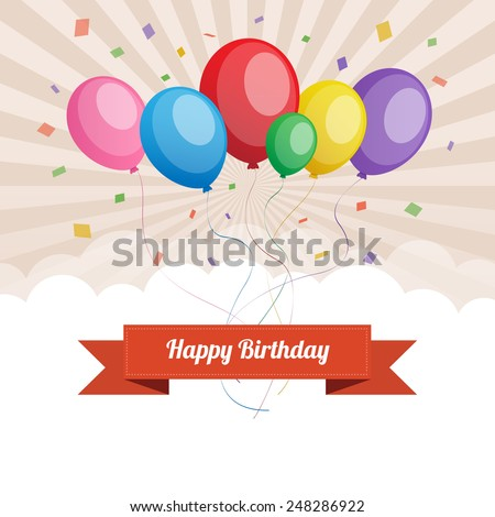 Happy birthday text box, Color balloon with cloud background. - stock vector