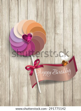happy birthday text on wooden texture with paper lolipop - stock vector