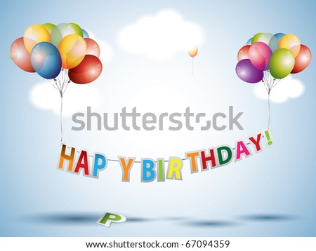 Happy birthday text with Colorful Balloons - stock vector