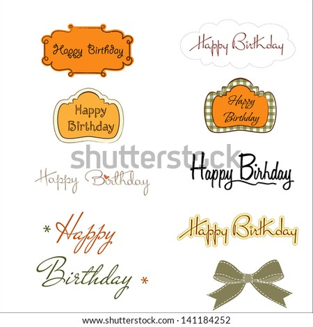happy birthday texts set isolated on white background, vector illustration - stock vector