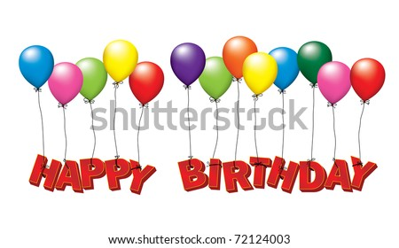 Happy birthday - the words floating in a balloon - stock vector