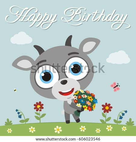 Happy Birthday Funny Donkey Flowers Birthday Vector – Goat Birthday Card
