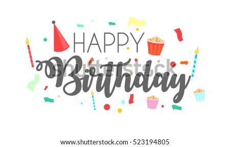 Happy Birthday Typographic Vector Design Greeting Stock Photo Photo