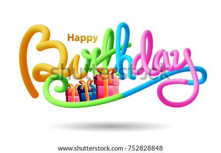 Happy Birthday Typographic Vector Design In 3D Liquid Style For Greeting Cards Card