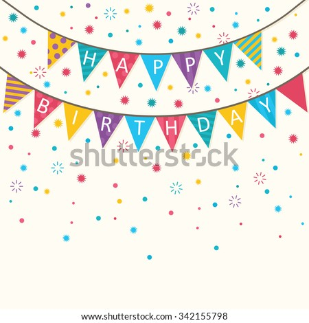 Happy birthday vector birthday card party em vetor stock 342155798 happy birthday vector birthday card party invitation banner eps10 stopboris Images
