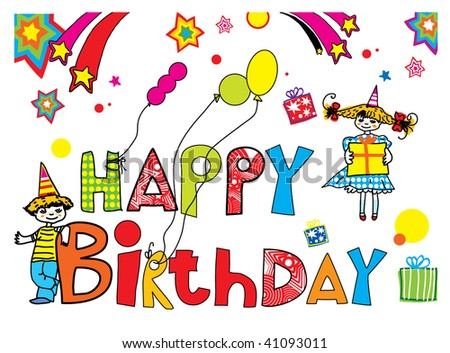 Happy Birthday vector card - stock vector