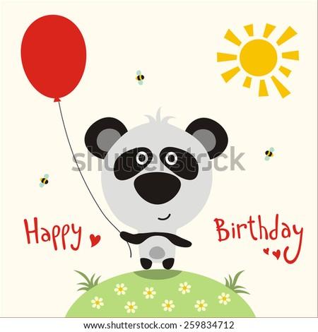 Happy birthday - vector card funny little panda with balloon, handwritten text. - stock vector