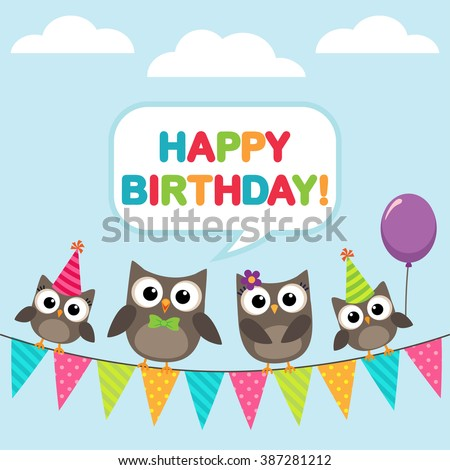 Happy birthday vector card with family of owls - stock vector