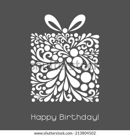 Happy Birthday. Vector decoration made from swirl shapes. Greeting, invitation card. Simple decorative gray and white illustration for print, web. - stock vector