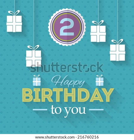 Happy Birthday Vector Design. Announcement and Celebration Message Poster, Flyer Flat Style  - stock vector