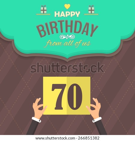 Happy Birthday Vector Design. Announcement and Celebration Message Poster, Flyer Flat Style Age Seventy - stock vector