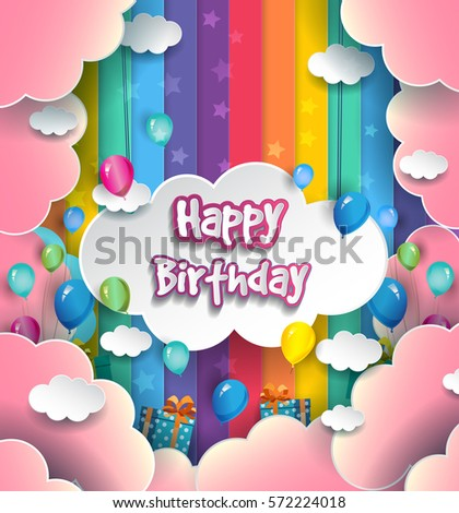 Happy Birthday Vector Design Greeting Cards Stock Vector Royalty