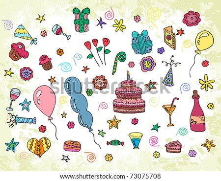 Happy Birthday vector elements - stock vector