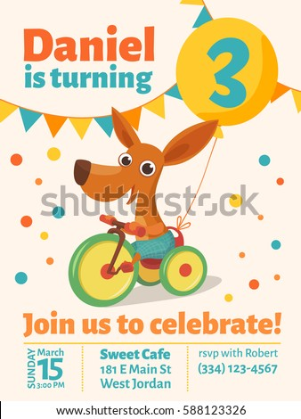 Happy Birthday Vector Poster. Baby Birthday Invitation With Cute Puppy. Dog  Riding A Bike  Birthday Invitation Pictures