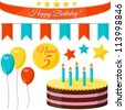 Happy birthday vector set - stock vector