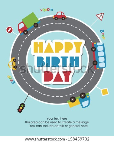 happy birthday vehicle card. vector illustration - stock vector