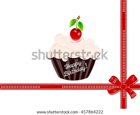 Happy birthday with a cherry on top. vector illustration.